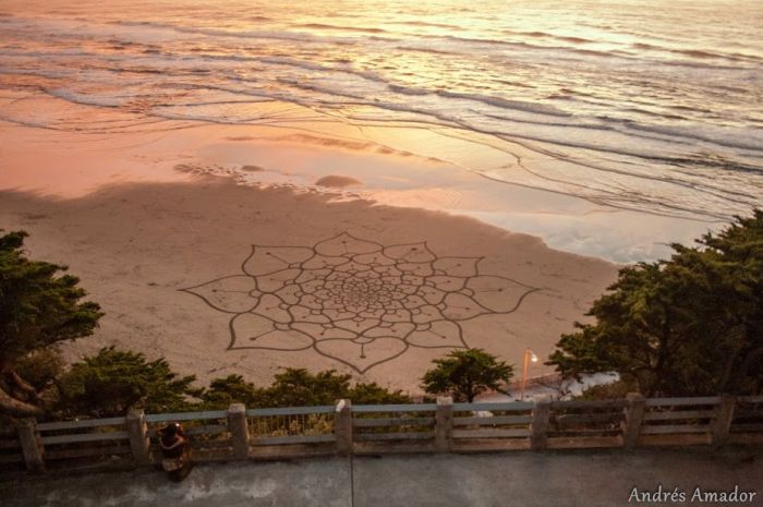 A freeform spiraling lotus flower design. very large! Ocean Beach, SF.