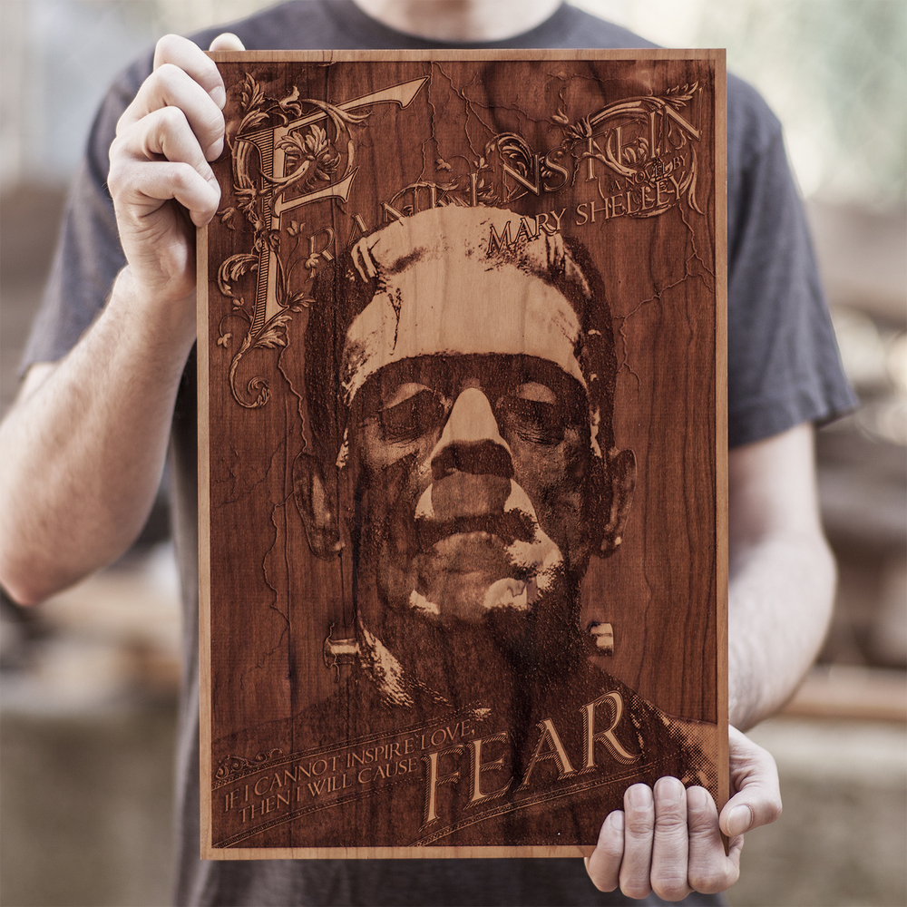 SpaceWolf Wood Poster Frankenstein 1