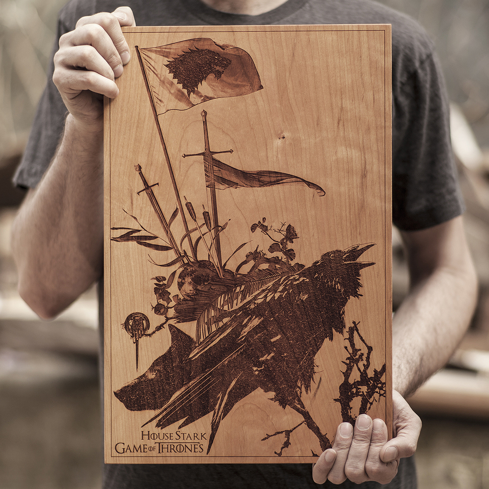 SpaceWolf Wood Poster Game Of Thrones 1