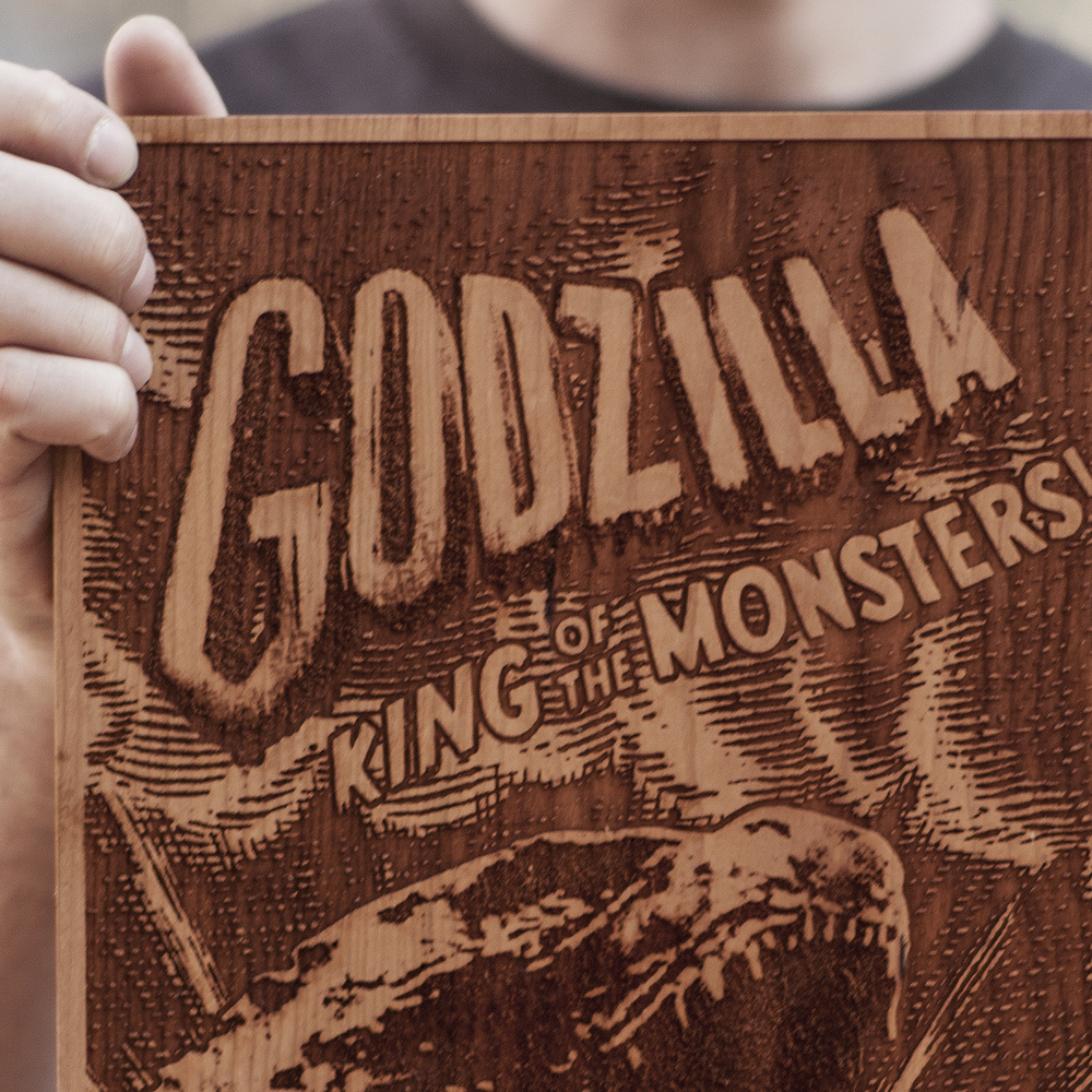SpaceWolf Wood Poster Godzilla 3