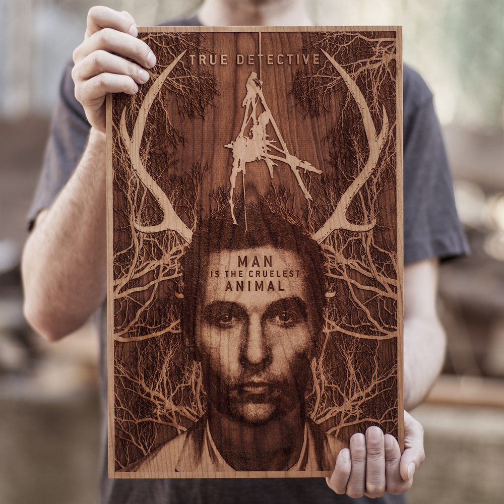 SpaceWolf Wood Poster True Detective 1